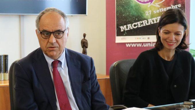 Il rettore Francesco Adornato e la professoressa Francesca Spigarelli dell'Università di Macerata